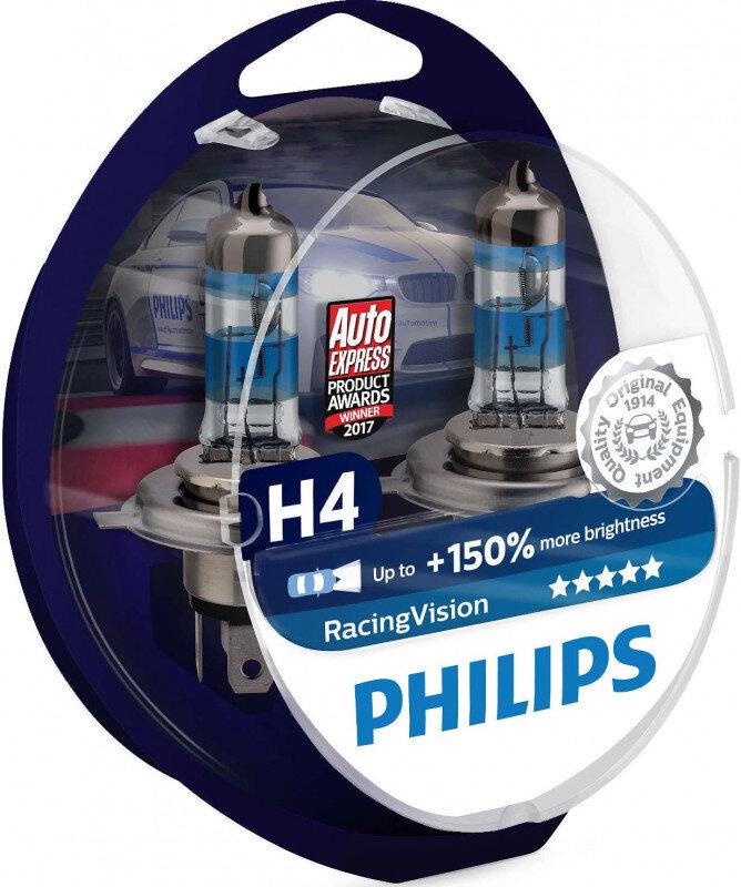 Philips Racing Vision H4 pærer +150% mere lys ( 2 stk) Philips Racing Vision +150%