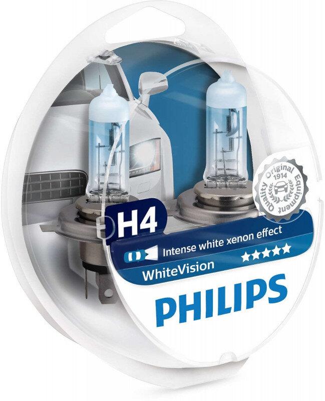 Philips White Vision H4 pære med Xenon effekt & +60% mere lys 2 stk. + (2stk. W5W) Philips White Vision +60% mere lys