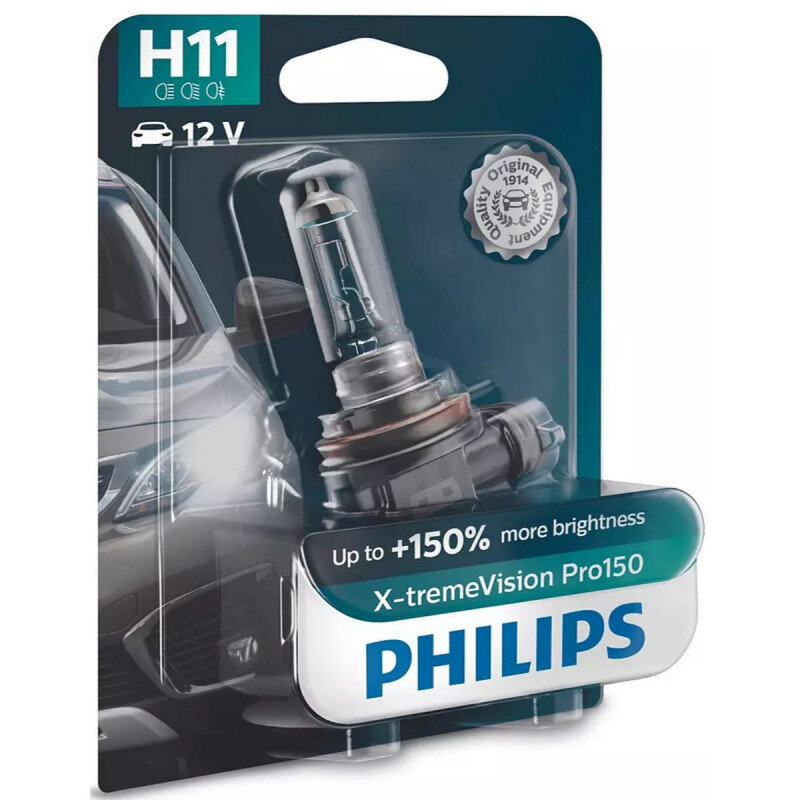 Philips X-Treme Vision Pro150 H11 pærer +150% mere lys (1 stk) Philips Xtreme Vision Pro +150%