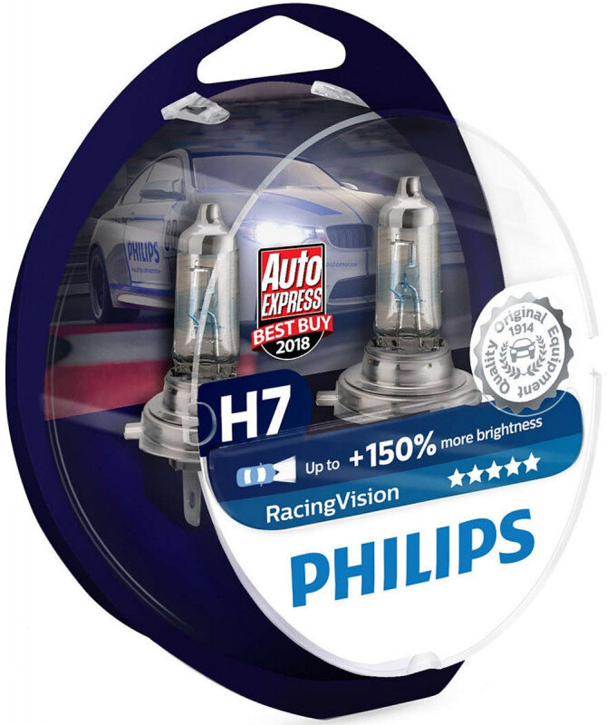 Philips Racing Vision H7 pærer +150% mere lys ( 2 stk) Philips Racing Vision +150%