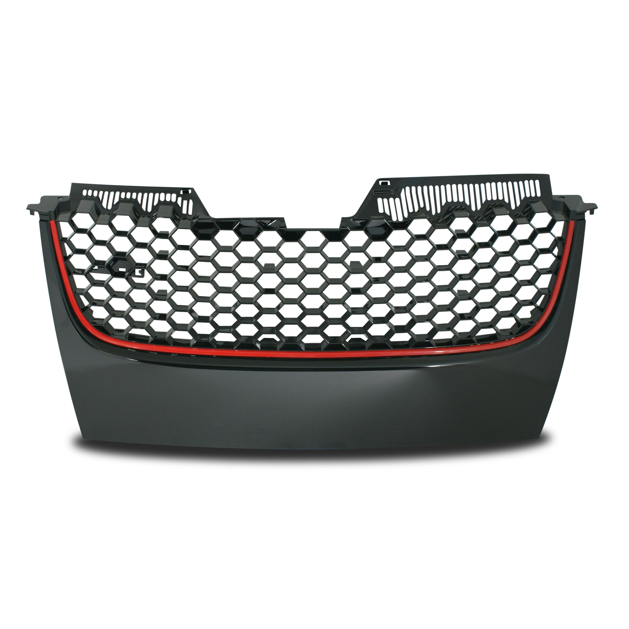JOM Frontgrill GTI look med honey comb gitter i sort med rød liste til VW Golf 5 Styling