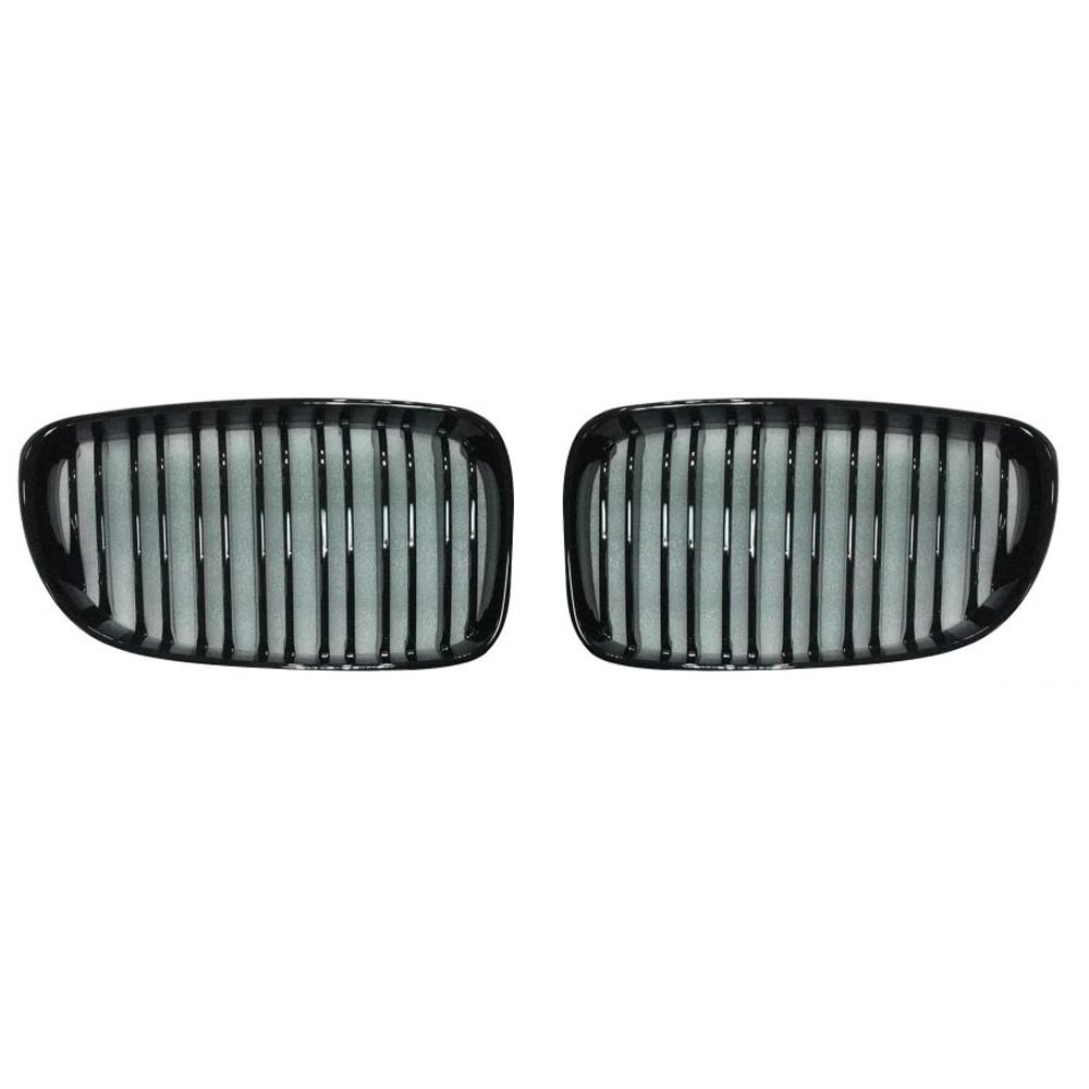 JOM Frontgrill med dobbelt ribbe i blank sort til BMW serie 1 E87 årgang 2007-2011 Styling
