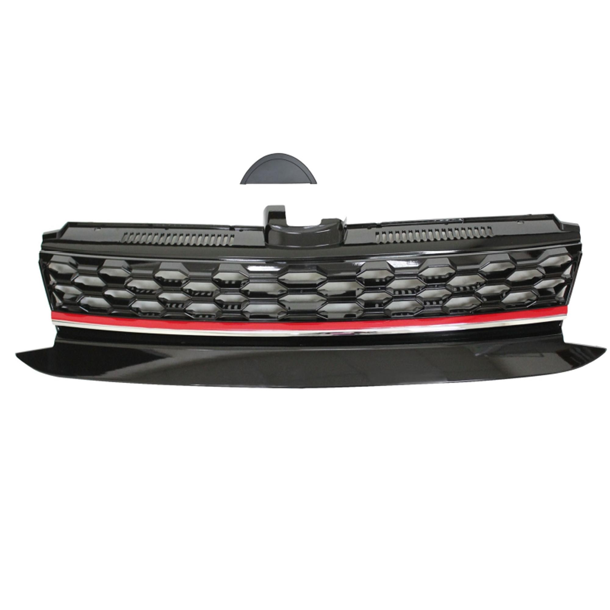 JOM Frontgrill med honeycomb gitter i sort med rød/krom liste til VW Golf 7 årgang 2017- Styling