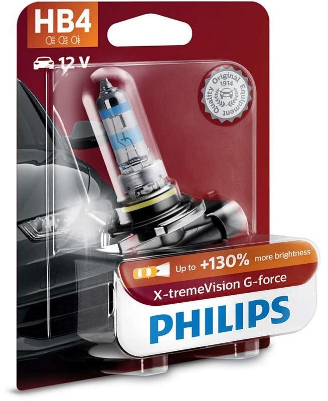 Philips HB4 X-tremeVision G-force pærer +130% mere lys ( 1 stk) Philips Xtreme Vision G-force +130%
